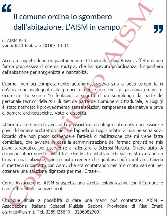 Appello della AISM per emergenza abitativa